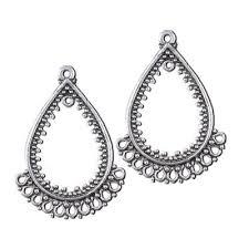 45x32mm antique silver tear drop chandelier earring pendant