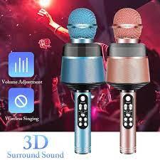 Taşınabilir Bluetooth kablosuz mikrofon yanıp sönen ışıklar ile el mikrofon  hoparlör cep telefonu için şarkı müzik uygulamaları|Microphones