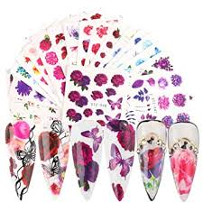 Flowers Nail Art Decals Butterfly Nail Stickers for <b>Women Rose Nail</b>