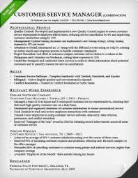 Hybrid Resume Template Customer Service Manager Combination Sample