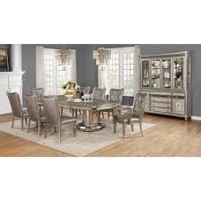 Pedestal Dining Table Danette Double Pedestal Dining Table Set In Metallic Platinum