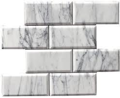 carrara bianco polished 3x6 beveled pillowed mesh mosaic marble tile