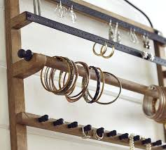 earring organizer wall pine iron wall mounted jewelry hanger pottery barn