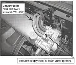 """tech tip hyundai has an intermittently stuck closed egr solenoid valve the egr solenoid valve is a normally open type valve • if the solenoid is not energized the valve is open and allows the vacuum to """"bleed"""" off thus"""