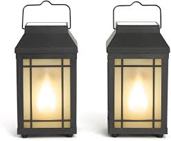 Lantern Pathway Lights Outdoor Solar Lanterns With Flickering Flame Set Of 2 Solar Powered Pathway Lights Realistic Torch Fire Effect For Decorative Outdoor Lighting
