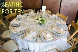 a table showing place settings for 10 persons
