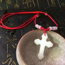 diy jewelry white jade cross pendant exquisite synthetic jade security safety cross pendant necklace to send