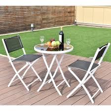 costway 3 pcs folding bistro table chairs set garden backyard patio furniture black 0