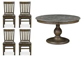 magnussen karlin 5 piece round bluestone top dining table set more info