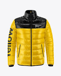 Men S Down Jacket Mockup Front View In Apparel Mockups On Yellow Images Object Mockups