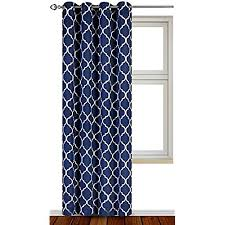 Printed Blackout Room Darkening Color Block Grommet Curtain Panel 52 inch  wide by 84 inch long - Decorative Curtains by Utopia Bedding (Printed Navy)