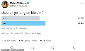On monday, she asked her … Bitcoin Price Is It Set To Surpass 20 000 A Coin An All Time High This Is Money
