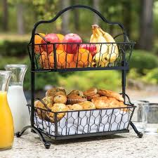 awesome wrought iron getable rack fruit storage 3 tier standing able baskets countertop kitchen a fruit basket