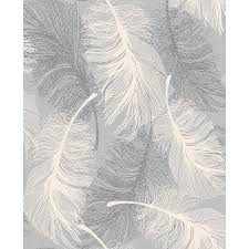 coloroll feather motif wallpaper grey decorating diy