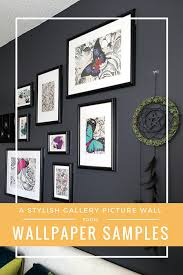create your own stylish gallery picture wall on a budget using wallpaper samples gallery wall