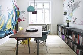 minimalist home office design. Amazing Indoor Graffiti Art Paint For Minimalist Home Office Design With Modern Colorful Chairs I
