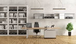 white modern office desk. Black And White Modern Office With Desk Bookcase - 3D Rendering Stock Photo 52154372 N