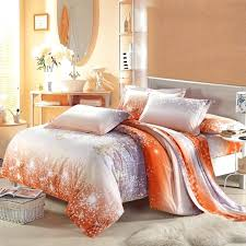orange and gray duvet cover asian cherry blossom 100 cotton bedding sets in grey orange and