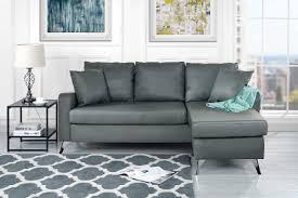 divano roma furniture bonded leather sectional sofa small space configurable couch light grey