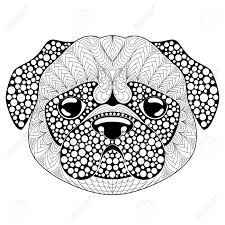 Pug Dog Head Tattoo Or Adult Antistress Coloring Page Black