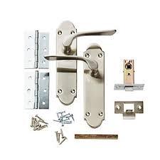 door handles. Wickes Pierre Latch Door Handle Set - Satin Nickel 1 Pair Handles