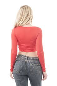 Long Sleeve Middle Knot Crop Top Products In 2019 Crop