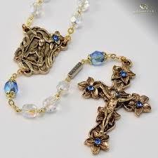our lady of lourdes rosary antique gold plated clear bohemian gl