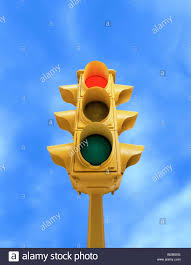 What Is Blue Light On Traffic Signal Upward View Of Tall Vintage Yellow Traffic Signal With Red