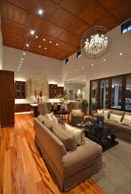 chic living room with high ceiling