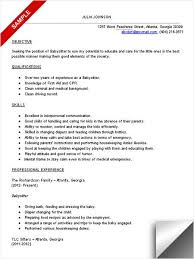 How To Put Babysitting On A Resume Custom Resume For Babysitting Job