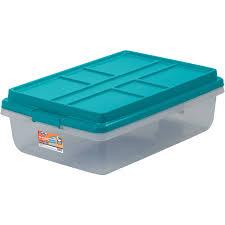 plastic storage bins. hefty 40-qt hi-rise clear latch box, teal sachet lid and handles plastic storage bins