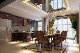 Dining Room:Open Plan Dining Room With Triple White Pendant Lamps Cozy  Dining Table In