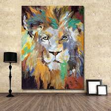 image is loading hand painted coloured lion on canvas large art  on large art oil painting wall decor canvas with hand painted coloured lion on canvas large art oil painting wall