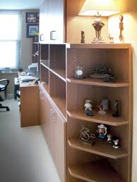 home office wall unit. Home Office Wall Units With Angled Shelves On Bookcase Corner And Custom Desk Unit