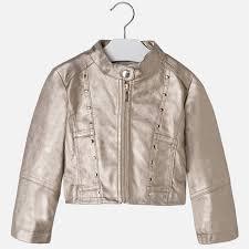 may girls studded leather jacket