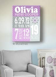 on little girl canvas wall art with birth announcement print purple baby girl nursery wall art