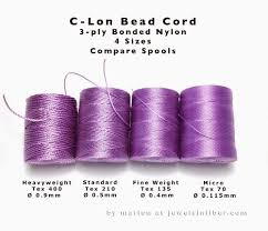 Superlon Thread Size Chart C Lon Bead Cord Comparing Sizes Guides To Components Etc