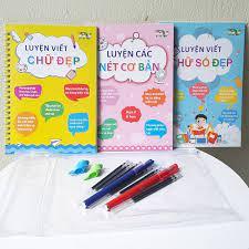 Bộ 3 Vở tập viết luyện chữ với bút tự xoá thần kỳ (Gồm : Luyện nét, luyện  chữ đẹp, luyện chữ số và 2 bút, 2 kê tay, 6 ngòi bút)