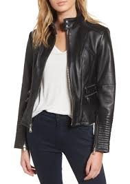 vince camuto double zip leather moto jacket