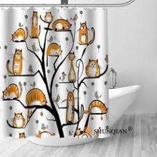 High Quality Black Cat Printed <b>Shower</b> Curtain - Waterproof ...