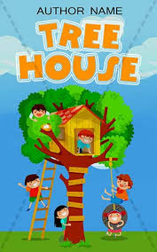 children book cover design tree house front