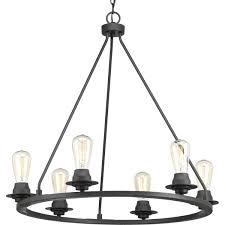 progress lighting p400015 143 debut 6 light candle chandelier graphite