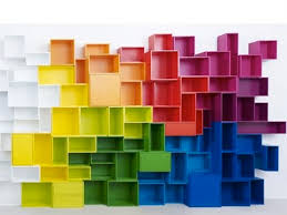 Colorful cubes bookshelves. Originally posted by myinspirationstudio