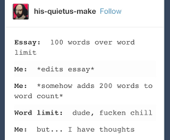 tumblr posts you ll funny if you ve ever written an essay 9 and when for once you have way too much to write and you start to curse the existence of a word count for other reasons