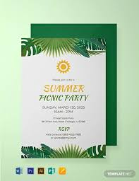 Free Summer Picnic Party Invitation Template Word Psd
