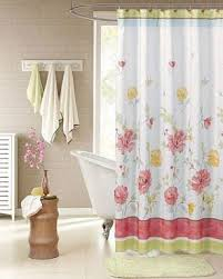 cool fabric shower curtains. White Alyssa Fabric Shower Curtain Hanging On A Bathroom Rod Cool Curtains S