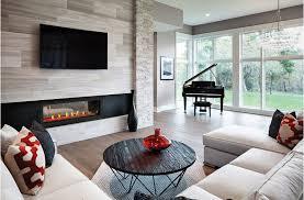 sleek glass built in fireplace in living room