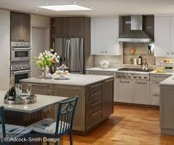 Taupe and white two tone cabinets