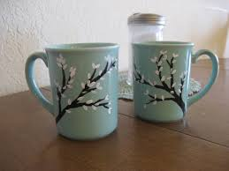 Hand Painted Coffee Mugs With Trees And White By Dustyroadgurl