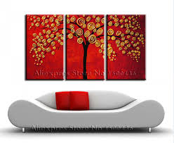 hand painted autumn fall oil canvas tree painting wall art decor  on set of three framed wall art with famous canvas wall art sets of 3 motif wall painting ideas